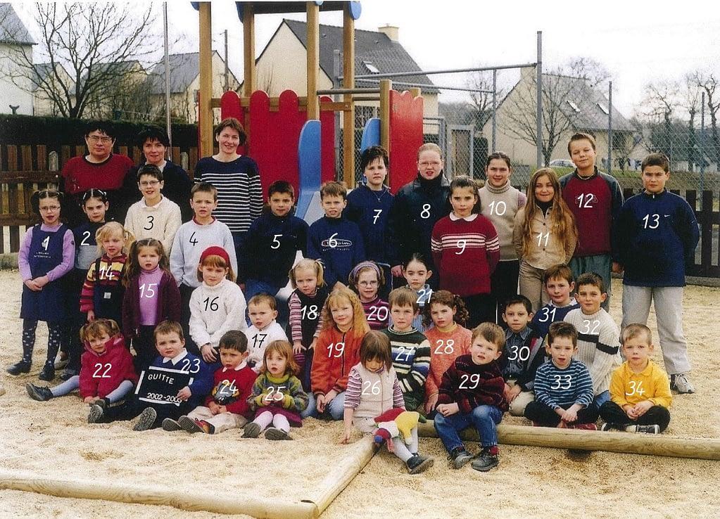 photo de classe 2002 - 2003 guitté nombres