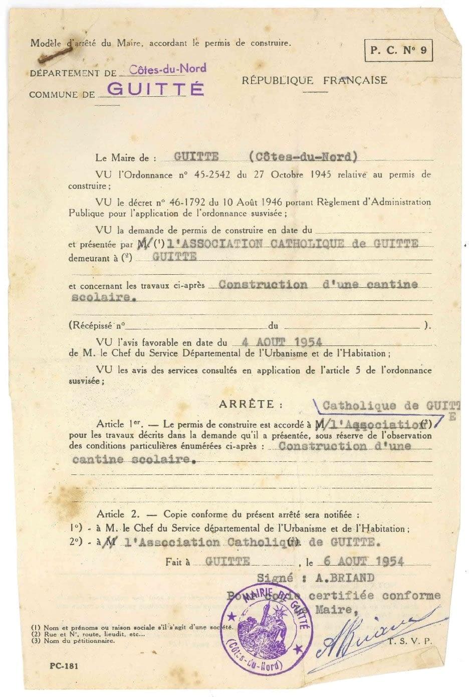 permis de construire de l'école de guitté 1954
