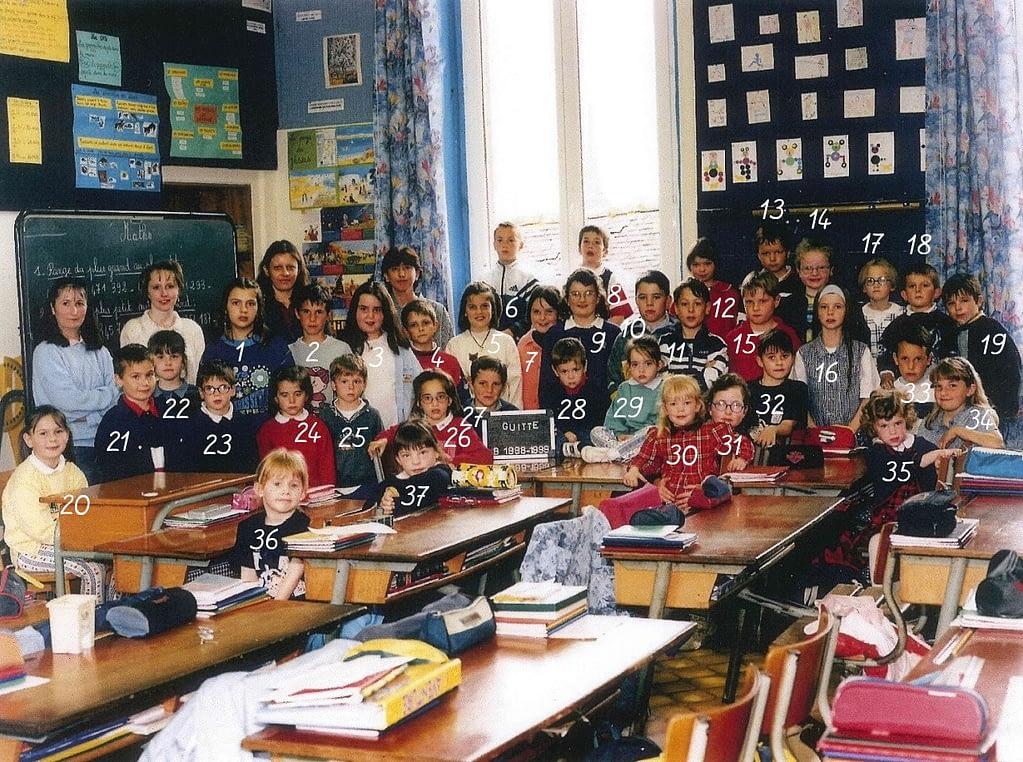 photo de classe 1998 / 1999 guitté avec nombres